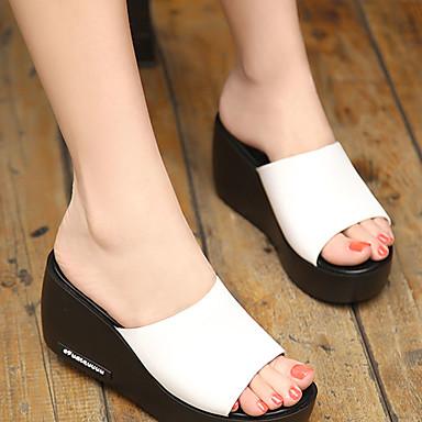 Pedrería Zapatos Media flops Cuero Verano Zapatillas flip Confort Blanco 06681859 y Dedo Negro plataforma Mujer redondo Uwx7qfFw