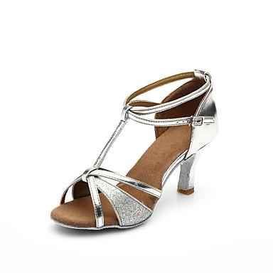 baratos Shall We® Sapatos de Dança-Mulheres Cetim / Couro Sintético / Courino Sapatos de Dança Latina Salto Salto Personalizado Personalizável Preto / Prata / Marron / Interior