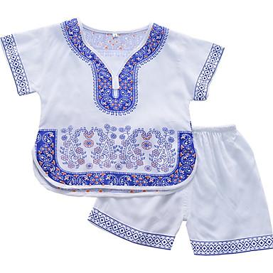 Copii Fete De Bază Geometric Manșon scurt Poliester Set Îmbrăcăminte Alb 100