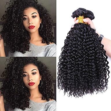 3 Связки Индийские волосы Кудрявый 8A Натуральные волосы Необработанные натуральные волосы Накладки из натуральных волос Черный Естественный цвет Ткет человеческих волос