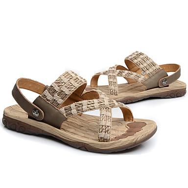 Men's Upstream Linen / Cowhide Summer / Fall Comfort Sandals Upstream Men's Shoes Black / Beige 1eb925