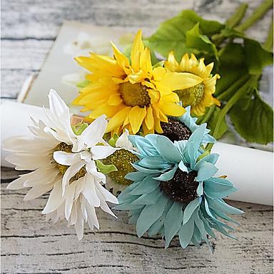 Flori artificiale 1 ramură European / Pastoral Stil Floarea soarelui Față de masă flori / Nu e inclus