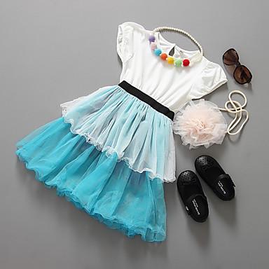 Brzdąc Dla dziewczynek Solidne kolory Krótki rękaw Sukienka / Księżniczka