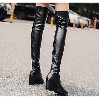 Bottes Polyuréthane Femme Talon Hiver à Chaussures 06683624 Mode Cuissarde Bottier Bottes Noir la 0qrE05