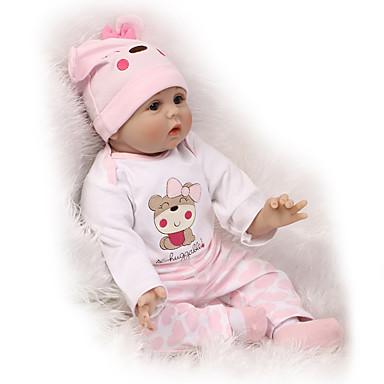 halpa Reborn Dolls-NPKCOLLECTION NPK DOLL Reborn Dolls 24 inch Silikoni - Vastasyntynyt elävä Cute Lapsiturvallinen Non Toxic Käsityynyt silmäripset Lasten Unisex / Tyttöjen Lelut Lahja / CE / Levyke