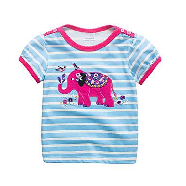 Dzieci / Brzdąc Dla dziewczynek Aktywny / Podstawowy Codzienny / Sport Prążki / Patchwork Patchwork / Haft Krótki rękaw Regularny Bawełna T-shirt Jasnoniebieski
