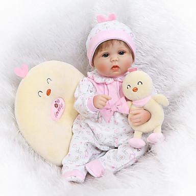 halpa Reborn Dolls-NPKCOLLECTION NPK DOLL Reborn Dolls 16 inch Silikoni - Vastasyntynyt elävä Cute Lapsiturvallinen Non Toxic Käsityynyt silmäripset Lasten Poikien / Tyttöjen Lelut Lahja