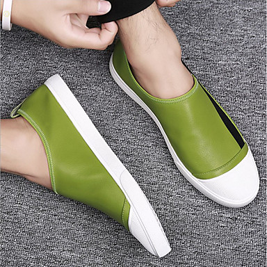 Men's & Leather Summer Comfort Loafers & Men's Slip-Ons White / Black / Green 3f200f