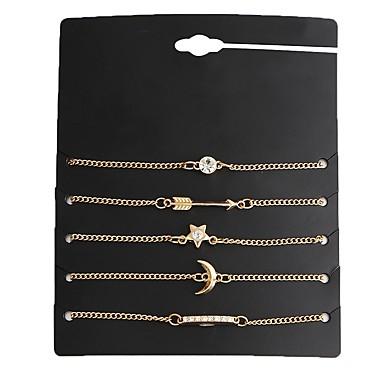 abordables Bracelet-5pcs Chaînes Bracelets Parure Bracelet Femme Lune Etoile dames Mode Bracelet Bijoux Dorée Forme Géométrique pour Quotidien Ecole