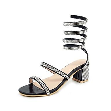 Mulheres Sapatos Courino Primavera Verão Gladiador Sandálias Salto Robusto Dedo Aberto Pedrarias Preto / Prata / Casamento
