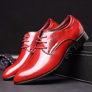 Men's Dress Shoes PU(Polyurethane) Fall Comfort / / British Oxfords Black / Comfort Silver / Red / Blue 6de3b4