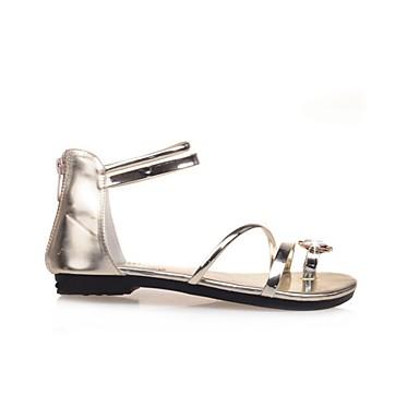 PU Sandalias Puntera Negro Tacón Dorado Mujer Cristal Paseo Plano Zapatos abierta Confort Verano 06695412 Plata qgZAp5wI