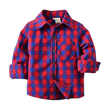 Dzieci / Brzdąc Dla chłopców Aktywny / Podstawowy Szkoła Kolorowy blok Długi rękaw Bawełna Koszula