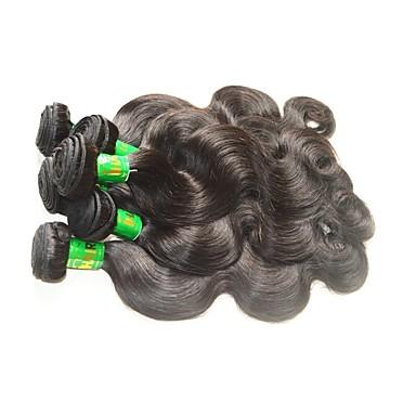 baratos Extensões de Cabelo Natural-10 pacotes Cabelo Indiano Onda de Corpo 10A Cabelo Virgem Cabelo Natural Remy Extensões de Cabelo Natural Côr Natural Tramas de cabelo humano Macio Suave Venda imperdível Extensões de cabelo humano