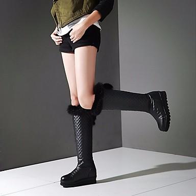 Blanc Bout de Plume à Chaussures Automne hiver Noir Hauteur Bottes 06682728 rond Mode Bottes compensée semelle la Bottes Polyuréthane Femme pTqfq