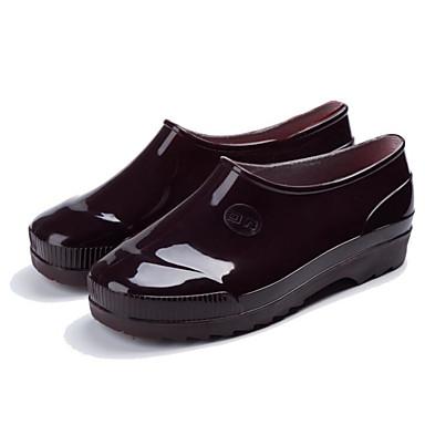 Borgoña Tacón lluvia Cuero PVC 06683959 Zapatos Azul Botas Botas de Negro Mujer Primavera Plano 578RTxTw
