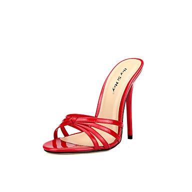 Pentru femei Pantofi PU Vară Pantof cu Berete Sandale Toc Stilat Vârf rotund Alb / Negru / Rosu / Nuntă / Party & Seară