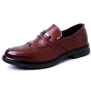 Męskie Komfortowe buty Skóra bydlęca Jesień Mokasyny i buty wsuwane Czarny / Brązowy / Biuro i kariera