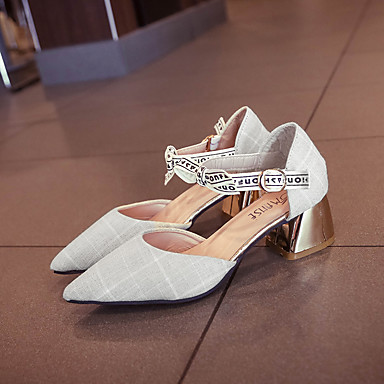 Bride Talons Oxford 06713804 pointu Chaussures à Eté de Bout Bottier Beige Marche Femme Noir Talon Cheville Chaussures A8wxqA4t