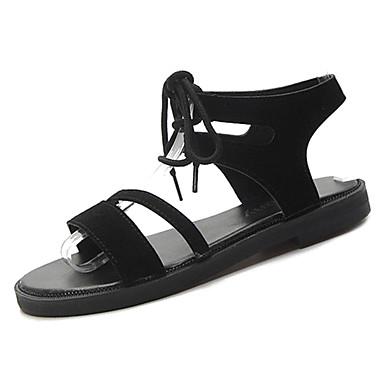 Pentru femei PU Vară Confortabili Sandale Toc Drept Negru / Verde / Migdală