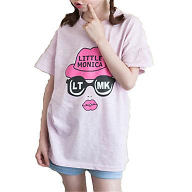 baratos Blusas para Meninas-Infantil Para Meninas Básico Sólido Manga Curta Camiseta Branco