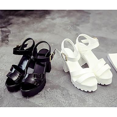 Verano Talón Blanco Confort Mujer Zapatos bloque Sandalias PU 06669474 Negro de x4pgBBwq