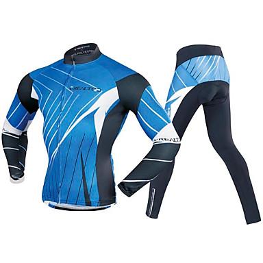 Realtoo Męskie Długi rękaw Koszulka i spodnie na rower - Niebieski / czarny Rower Zestawy odzieży, Wkładka 3D Poliester, Spandeks Linie / fale / Elastyczny