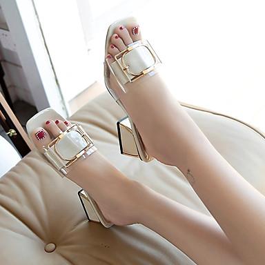 Verano Tacón Beige Confort Zapatos flops Amarillo PU Mujer Cuadrado flip 06697551 y Zapatillas q81ETwv