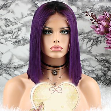 povoljno Perike i ekstenzije-Remy kosa Lace Front Perika Bob frizura Stepenasta frizura stil Brazilska kosa Ravan kroj Ljubičasta Perika 130% Gustoća kose s dječjom kosom 100% Djevica Žene Kratko Perike s ljudskom kosom Luckysnow