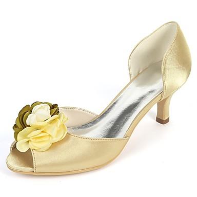 Pentru femei Pantofi Satin Primavara vara Balerini Basic pantofi de nunta Toc Mic Pantofi vârf deschis Flori din Satin Albastru Închis /