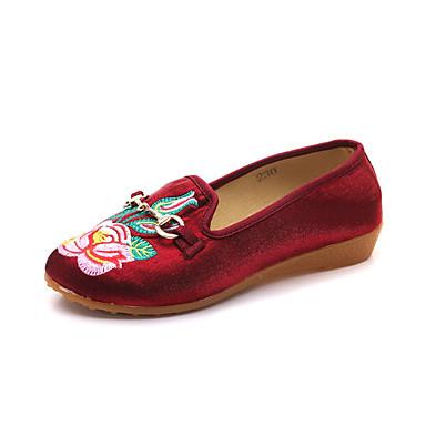 Pentru femei Pânză Vară Confortabili Pantofi Flați Toc Drept Negru / Mov / Rosu