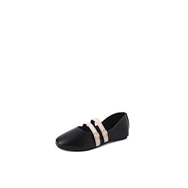 Bajo Negro Beige Verano Confort 06701848 Mujer Bailarinas PU Zapatos Tacón qw8Ax0YF