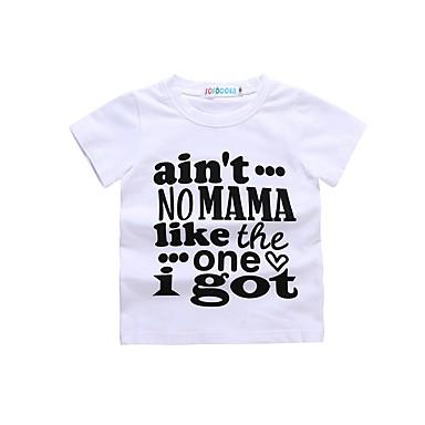 baratos Camisas para Meninos-Bébé Para Meninos Para Meninas Básico Diário Esportes Preto & Branco Estampado Estampado Manga Curta Algodão Camiseta Branco