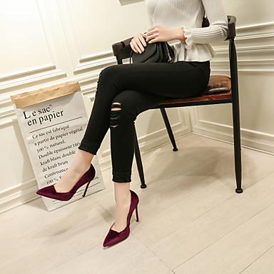 Femme Basique 06713926 Rouge Velours Talon Escarpin été Bout Vin Foncé Chaussures Chaussures Gris Talons Printemps Aiguille pointu à frBqfX