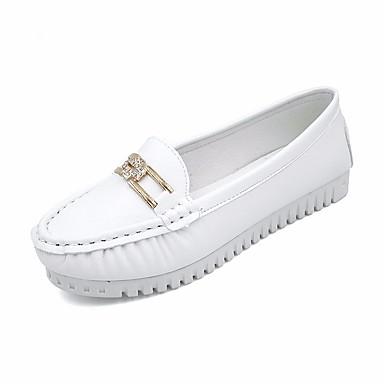 Pentru femei Pantofi PU Primăvară Confortabili / Mocasini Mocasini & Balerini Toc Drept Negru / Albastru / Roz