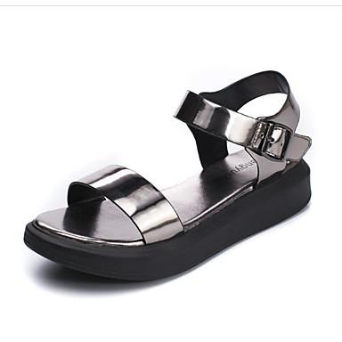 Femme Argent Bout Talon Argent Eté ouvert Plat Noir 06685873 Polyuréthane Sandales Confort Chaussures PwgP0Xr