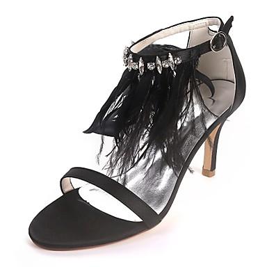 Noir Aiguille Printemps mariage 06714818 Chaussures Satin Chaussures Basique Bout Escarpin Blanc de ouvert Talon été Plume Strass Femme qfx4awFx