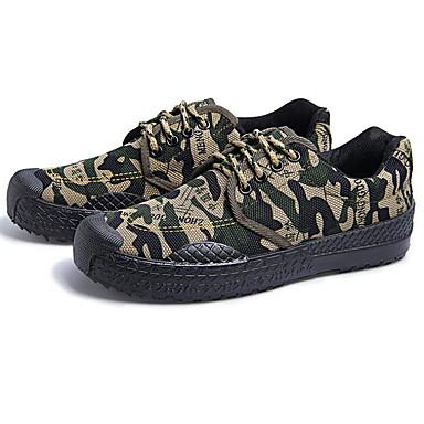 Men's Canvas Spring Brown Comfort Sneakers Army Green / Light Brown Spring / Khaki ea485d