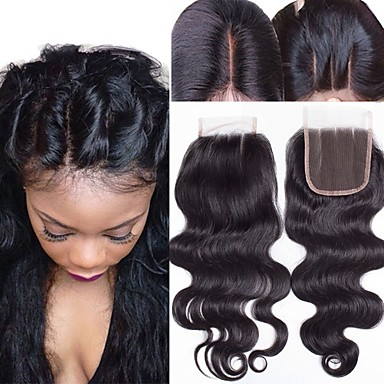 d02dcc8406 Guanyuwigs Brazilian Hair 4x4 Closure Wavy Free Part / Middle Part / 3 Part  Swiss Lace Human Hair Women's With Baby Hair / Soft / Silky Dailywear /  Daily