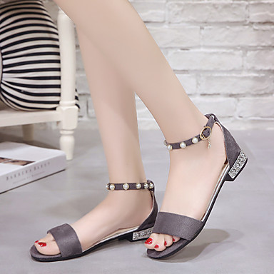Perla PU Tacón Plano Gris Rojo Negro Sandalias Confort Zapatos Sintético redondo 06681864 Dedo verano Paseo Primavera Mujer 76fq1ER