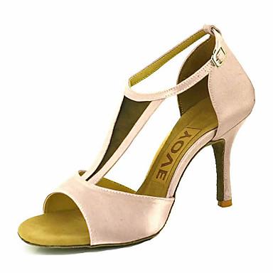 e66eaf2b720c Žene Cipele za latino plesove   Cipele za salsu Saten Sandale   Štikle Kopča    Ukrasna trakica Potpetica po mjeri Moguće personalizirati Plesne cipele  Žuta ...