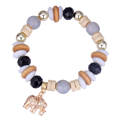 billige Motearmbånd-Vedhend Armband Perlearmbånd Elefant damer Vintage Europeisk Etnisk Mote Akryl Armbånd Smykker kaffe / Rød / Blå Til Daglig
