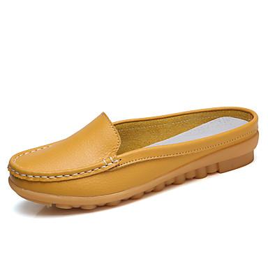 Pentru femei Pantofi Piele Primavara vara Confortabili / Mocasini Saboți Toc Drept Negru / Portocaliu / Galben / Party & Seară