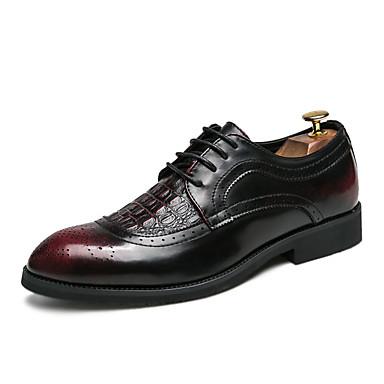 Men's Faux / Leather Summer Comfort Oxfords Black / Faux Black / Red d48c9c