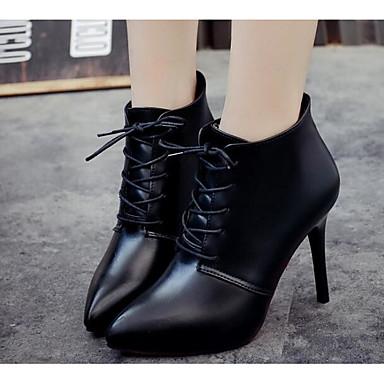 de Moda Tobillo Botas PU Negro Tacón Mujer el Otoño Hasta Zapatos Botines 06682706 Stiletto Botas 7xwIqZZX