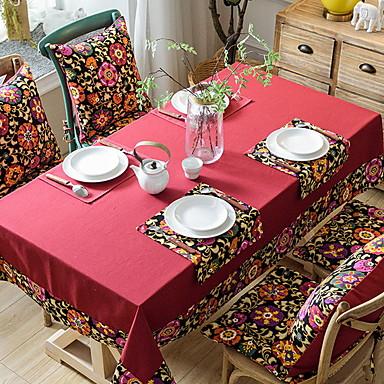 Nowoczesny Polichlorek winylu / Bawełna Kwadrat Obrus Kwiaty Dekoracje stołowe 1 pcs