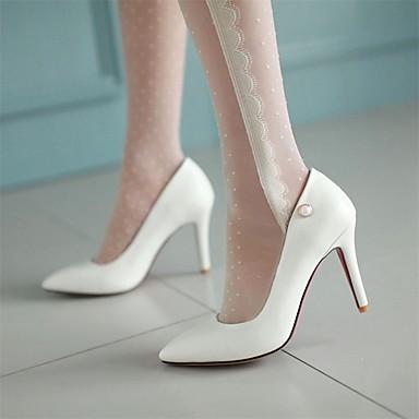 à Imitation Printemps Rose Basique Blanc Escarpin Perle Bout 06661503 pointu Talons Femme Similicuir Chaussures Chaussures Aiguille Talon Noir awfqxYE7