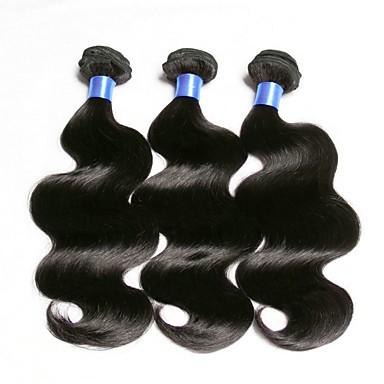baratos Extensões de Cabelo Natural-3 pacotes Cabelo Eurásio Onda de Corpo 8A Cabelo Humano Não processado Cabelo Natural Extensor Cabelo Bundle Um Pacote de Solução 8-28 polegada Natural Côr Natural Tramas de cabelo humano Sedoso