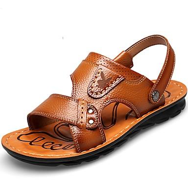 Bărbați Piele Vară Confortabili Sandale Negru / Maro