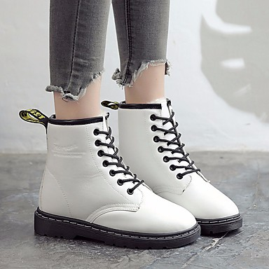 4aa81f9b884 Women s PU(Polyurethane) Fall   Winter Combat Boots Boots Flat Heel Round  Toe Booties   Ankle Boots White   Black   Red